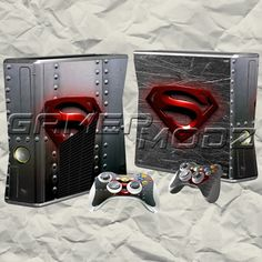 Steel Superman XBOX 360 Skin Set - Console with 2 Controllers