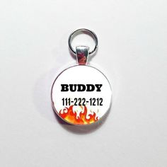 Custom Made DOG ID TAG, Pet Tag,  Your Dog's Name with Phone number, Personalized Dog Tag, Dog Tag, Flames Dog tag by annmariesisters3 on Etsy