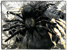 Giant black spider decorated black pumpkin Skeleton Decorations, Scary Halloween Decorations, Halloween Themes, Fall Halloween, Diy Cement Planters, Gothic Glam, Black Pumpkin, Spooky House, Black Spider