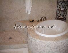 White Pebble Tile Shower and Tub