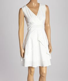Look what I found on #zulily! White Eyelet Surplice Dress by Aryeh #zulilyfinds