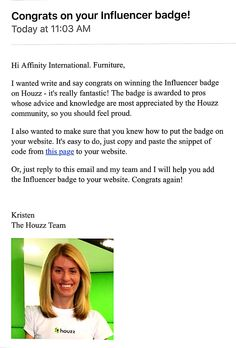 Congratulation to Affinity international Furniture.  Was awarded Influencer Badge from Houzz.
