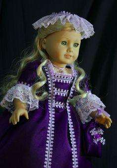 Colonial gala gown for American girl Felicity, Elizabeth. via Etsy.