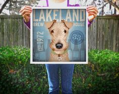 Lakeland Terrier Brewing company original graphic art illustration giclee archival signed print by stephen fowler Pick A Size