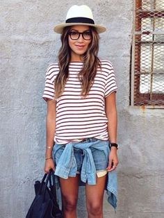Striped Shirt + Cutoff Shorts