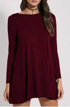 Simple Round Collar Long Sleeve Pure Color Women's Dress Long Sleeve Dresses | RoseGal.com Mobile