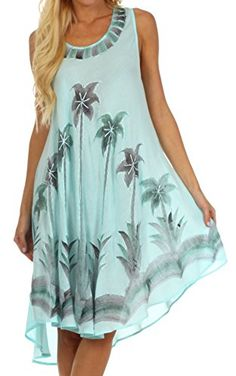 Sakkas Watercolor Palm Tree Tank Caftan Short Dress * You can get additional details at the image link.
