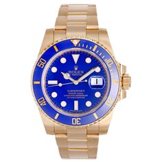 For Sale on - Rolex Submariner Reference The Rolex Submariner Date in 18 kt. Yellow Gold, the original diver's watch. The 40 mm watch case is made of 18 Rolex Watches, Watches For Men, Luxury Watches, Rolex Gmt, Rolex Submariner Blue, Rolex Models, Rolex Explorer, Thing 1, Pre Owned Rolex