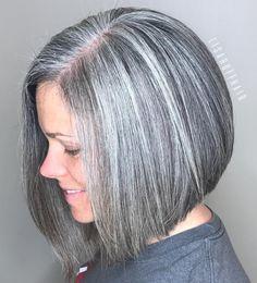 50 Gray Hair Styles Trending in 2019 - Hair Adviser salt pepper hair color ideas - Hair Color Ideas Grey Wig, Short Grey Hair, Pelo Color Gris, Blunt Bob With Bangs, Medium Hair Styles, Short Hair Styles, Wavy Pixie Cut, Pompadour Style, Salt And Pepper Hair