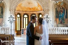 pastel old world themed wedding, beautiful bride and groom portrait inside of bella donna chapel.