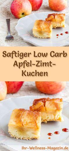 Rezept für Low Carb Apfel-Zimt-Kuchen: Der kohlenhydratarme, kalorienreduzierte Kuchen wird ohne Zucker und Getreidemehl zubereitet ... #lowcarb #kuchen #backen