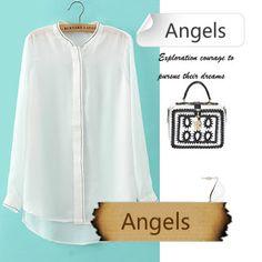 女裝韓國OL簡約百搭雪紡衫白襯衫310 | Angels