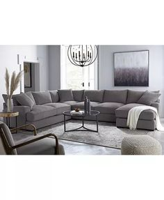 U Couch, Sectional Sofa With Chaise, Living Room Sectional, Living Room Grey, Home Living Room, Living Room Designs, Fabric Sectional, Macys Sectional, Family Room With Sectional