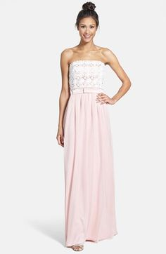 Lace & Crinkled Chiffon Gown