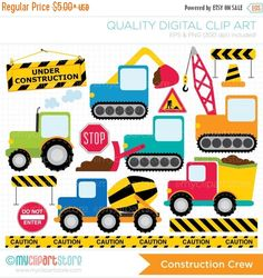 ON SALE - Transportation / Construction / Primary Colors Clip Art / Digital Clipart - Instant Download