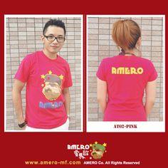 (AMERO)自創品牌 經典戴帽狗logo桃紅色全棉情侶T恤