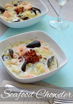 Delicious Seafood Chowder Recipe with Cod, Shrimp, Mussels, Potatoes, and bacon in a creamy broth.