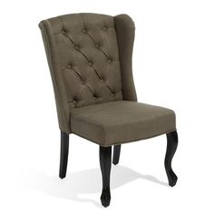 Elegant Wingback Design Brown Fabric Accent Chair w/ Carved Legs  Tufted Back