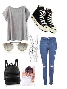 """""""Simple amusement park day outfit."""" by niessyminaj ❤ liked on Polyvore featuring Topshop, Elizabeth and James, Retrò, Converse and Taylor Morris"""