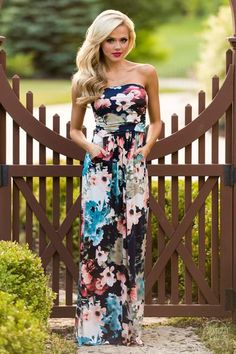 Love of Mine Maxi Dress - Navy I really love the colors in this floral pattern! Navy with more blush/pink patterns is lovely!