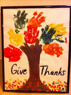 "Fall baby handprint art ""Give Thanks"""