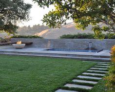 spa terrace - modern - patio - san francisco - Huettl Landscape Architecture by Huettl Landscape Architecture Walnut Creek, CA, US 94595 Modern Pools, Modern Patio, Modern Landscaping, Backyard Landscaping, Contemporary Patio, Small Fire Pit, Modern Fire Pit, Outdoor Propane Fireplace, Spa