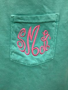 Hey, I found this really awesome Etsy listing at http://www.etsy.com/listing/125254631/monogrammed-comfort-colors-pocket-tee