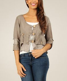 Another great find on #zulily! Mole Shirred Linen Cardigan #zulilyfinds