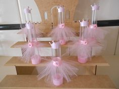 tubetes com tule sensory tubes Ballerina Birthday Parties, Princess Birthday, Princess Party, Girl Birthday, Homemade Baby Shower Favors, Minnie Mouse Party, Everything Pink, Shower Gifts, Baby Shower Cakes