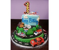 Transportation 1st Birthday Cake   Helicopter, Highway, Ambulance, Racecar, Bus    Cakes for Occasions, Danvers, MA   www.cakes4occasions.com