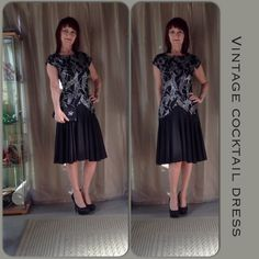 VINTAGE BLACK COCKTAIL DRESS Vintage black cocktail dress with drop waist & low rounded back with zipper. The bottom of the dress is full & provides a nice movement when in motion. The top of the dress is covered with silver sequins & cap sleeves. I style it with a small satiny clutch & black rhinestone pumps. The dress pretty much stands alone. Fabric is a synthetic satin blend. Vintage Dresses