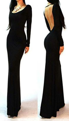 Sexy Maxi Long Cocktail Dress Black Minimalist Backless Open Cutout Back Slip Jersey Long Maxi Fancy Dress Fashion Club Wear $31.99