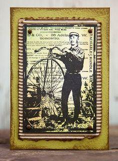 Card by Rachel Greig using Darkroom Door Mr Penny Farthing Collage Stamp. http://www.darkroomdoor.com/collage-stamps/collage-stamp-mr-penny-farthing