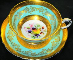 PARAGON-FRUIT-AQUA-BLUE-GOLD-ETCH-WIDE-FOOTED-TEA-CUP-AND-SAUCER-TEACUP