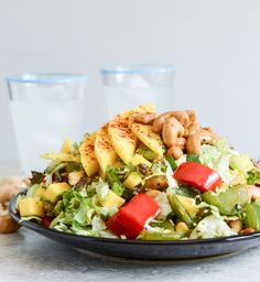 Cashew Chicken Chopped Salad with Chili Dusted Mango I howsweeteats.com