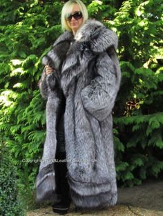 "NEW 2018 IMPERIAL SAGA SILVER FOX FUR SWING COAT HUGE COLLAR HEM 107""-272cm XXL"