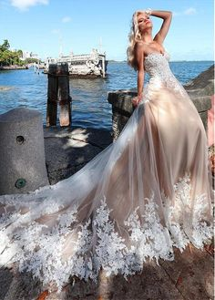 a8761ec3b721  255.59  Romantic Tulle Sweetheart Neckline A-line Wedding Dresses With Lace  Appliques   Beadings