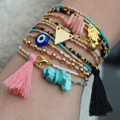 Thin bracelet Miyuki, charm and