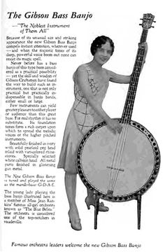 "Gibson Bass Banjo Ad: From the wiki: ""An unusual bass banjo variation is the Heftone bass, which combines a large, banjo pot with an upright spindle to produce an upright bass banjo. Vintage Les Paul, Americana Music, Play That Funky Music, Bluegrass Music, Double Bass, Cigar Box Guitar, Vintage Music, Mandolin, Folk Music"