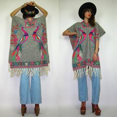 70s MEXICAN Ethnic woven Peacock fringe hippie blanket poncho boho shawl. $67.00, via Etsy.