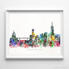 Toulouse, France Watercolor Skyline Wall Art Poster - Prices from $9.95 - Click Photo for Details - #skyline#watercolor#cityscape#bedroomdecor#Toulouse #France