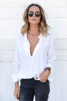 BLOUSE JULIA - NATAMELIE Fashion Capsule, Fashion Outfits, Classic White Shirt, White Button Down Shirt, Street Style, Looking Gorgeous, Spring Summer Fashion, What To Wear, Style Me