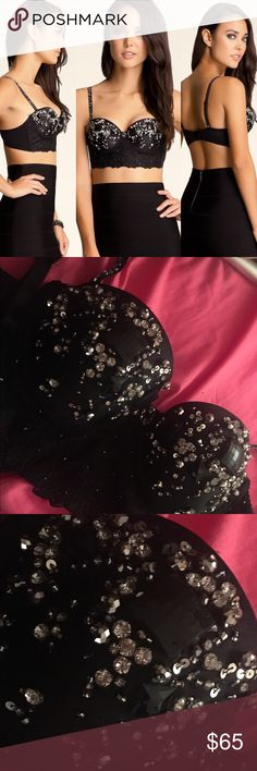Bebe beaded bustier top Gorgeous top! Pictures do not do this justice! Three adjustable clasps. bebe Tops