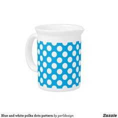 Blue and white polka dots pattern drink pitcher