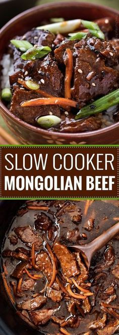 Slow Cooker Mongolian Beef Recipe - The Chunky Chef Amazingly tender Mongolian beef, made incredibly easy in the slow cooker! Just 10 minutes of prep!Amazingly tender Mongolian beef, made incredibly easy in the slow cooker! Just 10 minutes of prep! Slow Cooker Mongolian Beef Recipe, Mongolian Beef Recipes, Crock Pot Slow Cooker, Crockpot Meals, Easy Mongolian Beef, Crockpot Dishes, Rib Roast Slow Cooker Recipe, Slow Cooker Easy Meals, Beef Steak Recipe