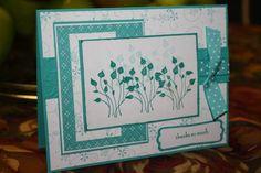 handmade card: Pocket Silhouettes  win white and aqua ... like the layout ...