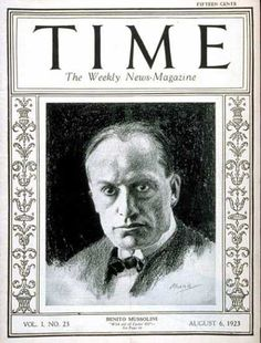 Benito Mussolini, Time Magazine, Aug. 6, 1923