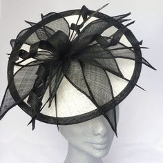 Ivory & Black Chloe Disc Fascinator Hat Perfect for Derby Races, Ascot, Mother of the Bride, Wedding Guest