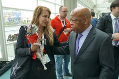 @repjohnlewis huddles with Spiderpup @Comic_Con #SDCC #March