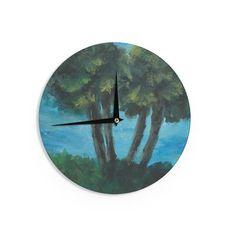 "Cyndi Steen ""Twin Palms"" Blue Green Wall Clock - KESS InHouse"
